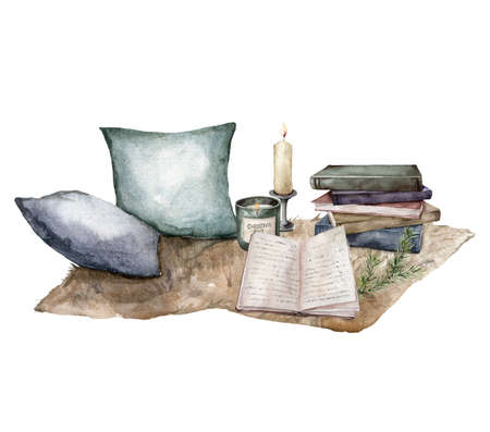 Watercolor Christmas composition with candles, pillows, books and fir branches. Hand painted holiday card isolated on white background. Illustration for design, print, fabric or background.