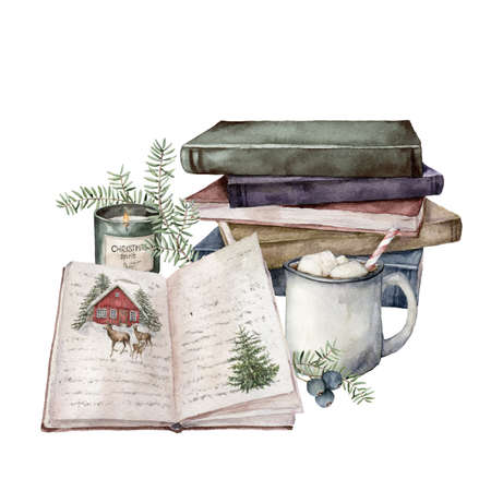 Watercolor Christmas composition with cup of cocoa, candle, books and fir branches. Hand painted holiday card isolated on white background. Illustration for design, print, fabric or background.
