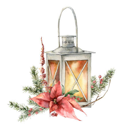 Watercolor Christmas card with lantern, poinsettia and fir branches. Hand painted holiday composition with flowers isolated on white background. Illustration for design, print, fabric or background. Imagens