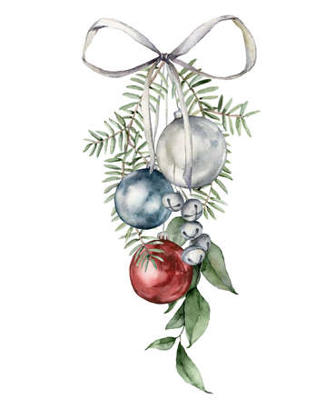 Watercolor Christmas composition with bow, tree toys and branches. Hand painted New Year decor isolated on white background. Holiday illustration for design, print, fabric or background.