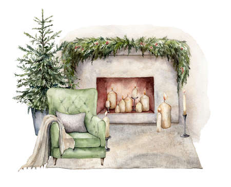 Watercolor winter card with armchair, fireplace, carpet and christmas tree. Hand painted holiday illustration with interior objects isolated on white background for design, print or background.