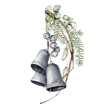 Watercolor Christmas composition with bells, dried branches, eucalyptus, lagurus and cotton. Hand painted holiday card isolated on white background. Illustration for design, print or background.