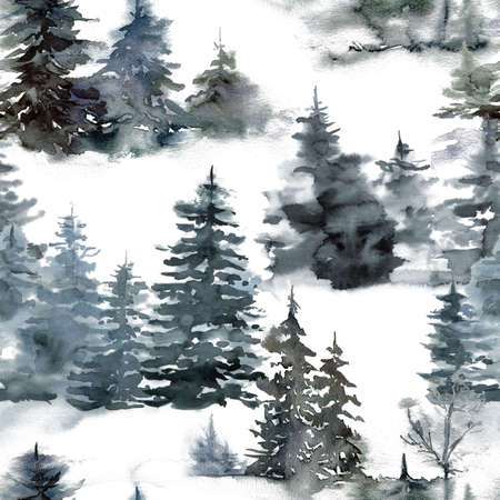 Watercolor Christmas seamless pattern with forest and snow. Hand painted fir trees composition isolated on white background. Holiday minimalistic illustration for design, print, fabric or background.