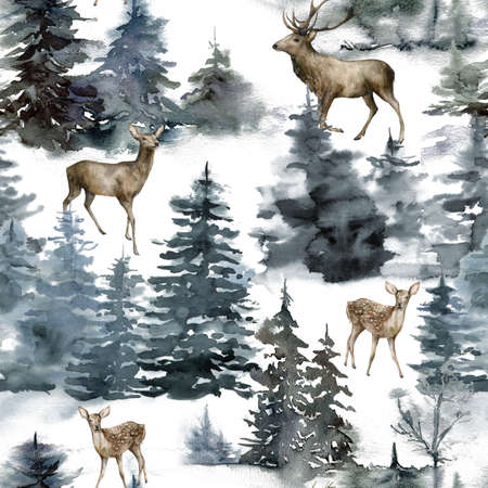 Watercolor Christmas seamless pattern with deers, forest and snow. Hand painted fir trees isolated on white background. Holiday minimalistic illustration for design, print, fabric or background.
