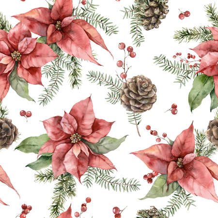 Watercolor Christmas seamless pattern with poinsettia, pine cone and fir branches. Hand painted holiday flowers isolated on white background. Illustration for design, print, fabric or background.