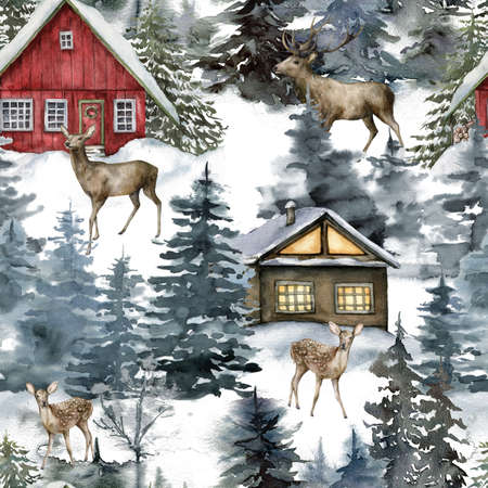 Watercolor Christmas seamless pattern with houses and deers in winter forest. Hand painted illustration with fir trees and snow isolated on white background. For design, print, fabric, background.