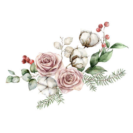 Watercolor Christmas bouquet with roses, cotton, lunaria, fir and eucalyptus branches. Hand painted holiday card of flowers isolated on white background. Illustration for design, print or background. Imagens