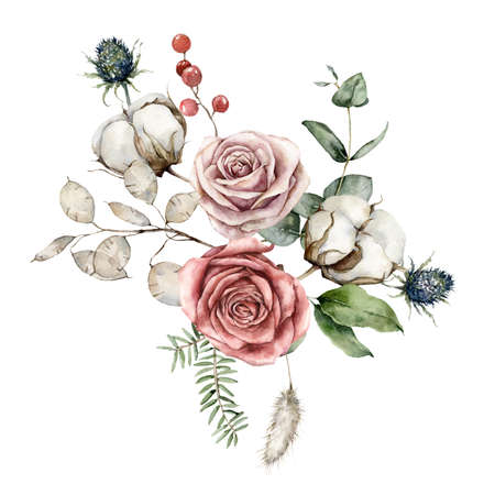 Watercolor Christmas bouquet of flowers with pink roses, cotton, blue Thistle and lunaria. Hand painted holiday card isolated on white background. Illustration for design, print or background.