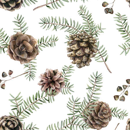 Watercolor Christmas seamless pattern with fir branches and pine cones. Hand painted holiday art with plants isolated on white background. Floral illustration for design, print, fabric or background.