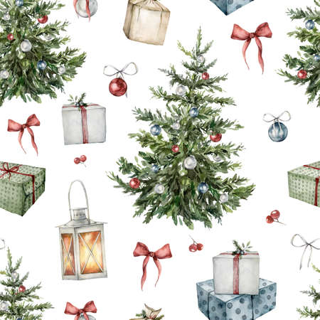 Watercolor winter seamless pattern with Christmas interior items. Hand painted holiday toys, lantern and bow isolated on white background. Illustration for design, print, fabric, or background. Imagens