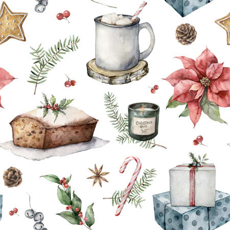 Watercolor winter seamless pattern with Christmas symbols. Hand painted holiday objects isolated on white background. Illustration for design, print, fabric, or background.