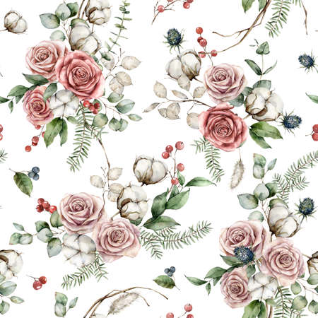 Watercolor Christmas seamless pattern of flowers with pink roses, cotton, blue Thistle and lunaria. Hand painted plants isolated on white background. Illustration for design, print or background.