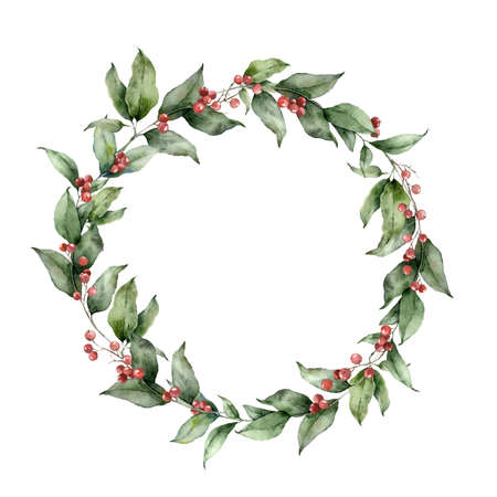 Watercolor Christmas circle wreath with branches and red berries. Hand painted holiday card with plants isolated on white background. Floral illustration for design, print, fabric or background.