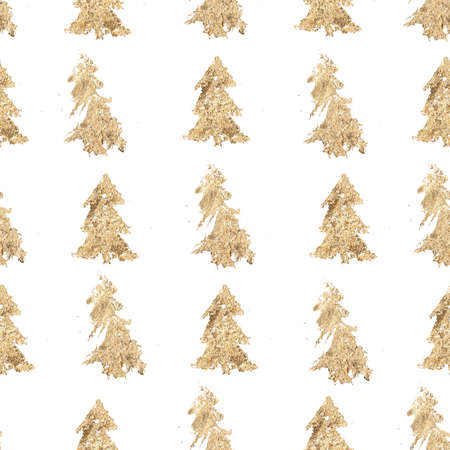 Watercolor Christmas seamless pattern of gold fir trees. Hand painted abstract trees composition isolated on white background. Holiday minimalistic illustration for design, print, fabric, background.