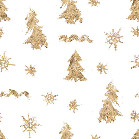 Watercolor Christmas seamless pattern of gold fir trees and decor. Hand painted abstract composition isolated on white background. Holiday minimalistic illustration for design, fabric or background.