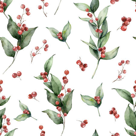 Watercolor Christmas seamless pattern with branches and red berries. Hand painted holiday greenery isolated on white background. Floral illustration for design, print, fabric or background.