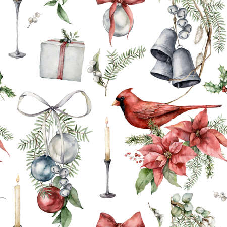 Watercolor Christmas seamless pattern of cardinal bird, candle, bells, poinsettia and fir branches. Hand painted holiday illustration isolated on white background. For design, print or background.