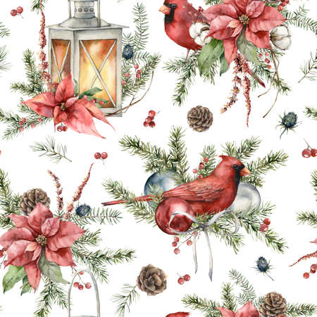 Watercolor Christmas seamless pattern of cardinal bird, lantern, poinsettia and fir branches. Hand painted holiday illustration isolated on white background. For design, print, fabric or background.
