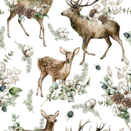Watercolor Christmas seamless pattern of deers, eucalyptus, fir branches, blue Thistle and cotton. Hand painted holiday illustration isolated on white background. For design, print or background. Imagens