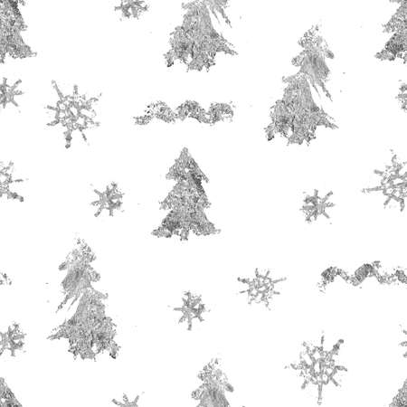 Watercolor Christmas seamless pattern of silver fir trees and decor. Hand painted abstract composition isolated on white background. Holiday minimalistic illustration for design, fabric or background. Imagens