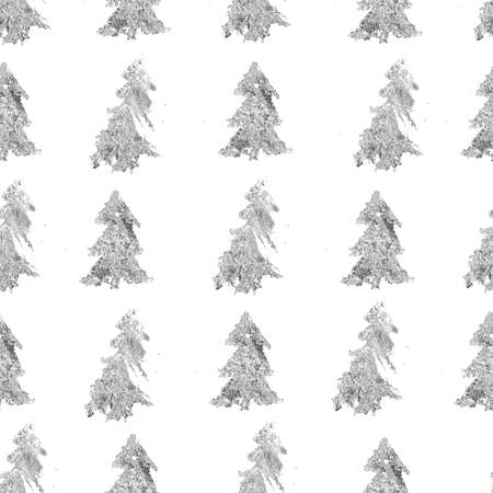Watercolor Christmas seamless pattern of silver fir trees. Hand painted abstract composition isolated on white background. Holiday minimalistic illustration for design, print, fabric or background.