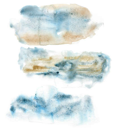 Watercolor abstract Christmas set of blue and beige spots. Hand painted art in minimalistic style. Winter fantasy. Holiday background for design, print or fabric.