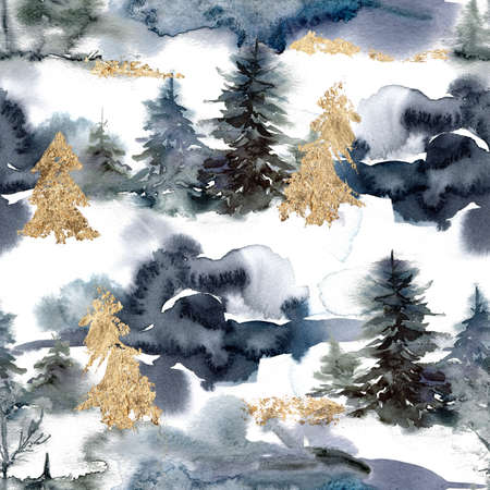 Watercolor Christmas abstract seamless pattern of forest and snow. Hand painted gold fir trees isolated on white background. Holiday minimalistic illustration for design, print, fabric or background.