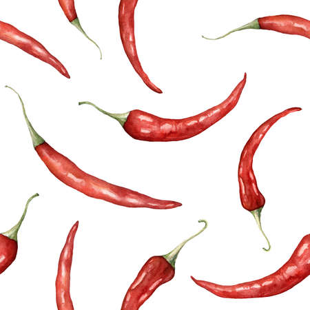Watercolor chilli seamless pattern. Hand painted peppers isolated on white background. Autumn harvest festival. Botanical illustration for design, print or background. Imagens