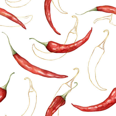 Watercolor seamless pattern of linear chilli. Hand painted gold peppers isolated on white background. Autumn harvest festival. Botanical illustration for design, print or background.