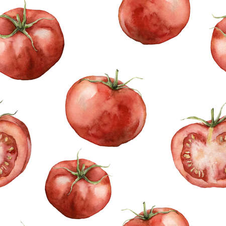 Watercolor tomato seamless pattern. Hand painted food isolated on white background. Autumn harvest festival. Botanical illustration for design, print or background.