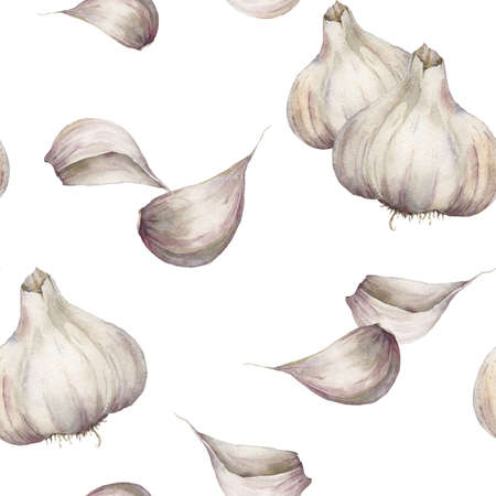 Watercolor garlic seamless pattern. Hand painted food isolated on white background. Autumn harvest festival. Botanical illustration for design, print or background.