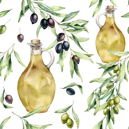 Watercolor kitchen seamless pattern of olives and bottle with oil. Hand painted illustration with olive branches and leaves isolated on white background. For design, print and fabric. Imagens