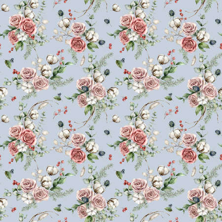 Watercolor Christmas seamless pattern of flowers with pink roses, cotton, blue Thistle and lunaria. Hand painted flowers isolated on blue background. Illustration for design, print or background.