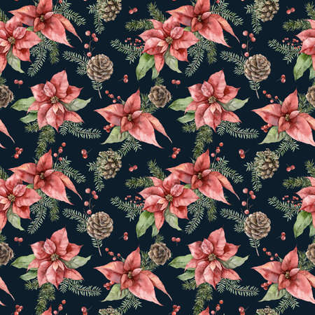 Watercolor Christmas seamless pattern with poinsettia, fir branches and pine cone. Hand painted holiday flowers isolated on black background. Illustration for design, print, fabric or background.