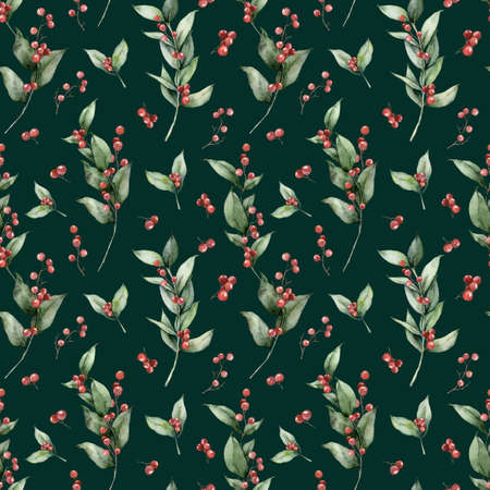 Watercolor Christmas seamless pattern of branches, leaves and red berries. Hand painted holiday greenery isolated on dark green background. Floral illustration for design, print, fabric or background.
