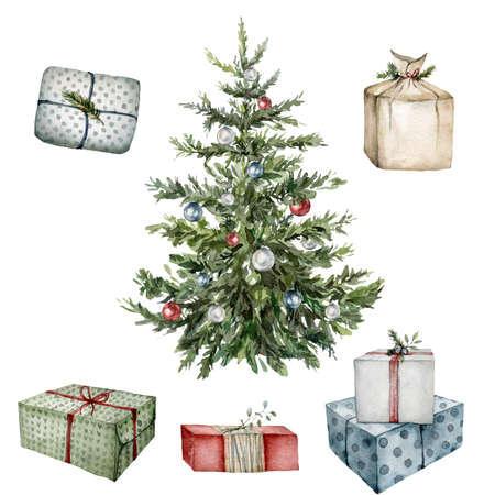 Watercolor winter set with Christmas tree, gift boxes and toys. Hand painted New Year tree with Christmas ball isolated on white background. Holiday illustration for design, print, fabric, background.