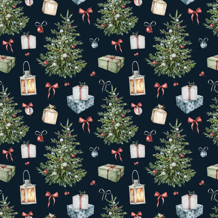 Watercolor winter seamless pattern of Christmas interior items. Hand painted holiday toys, lantern and bow isolated on black background. Illustration for design, print, fabric, or background.