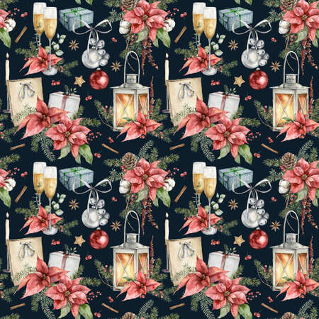 Watercolor seamless pattern of Christmas symbols. Hand painted holiday illustration of lantern, poinsettia, gift boxes and bells isolated on black background. For design, print, fabric or background.