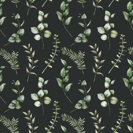 Watercolor Christmas seamless pattern of eucalyptus. Hand painted branches isolated on white background. Floral illustration for design, print, fabric or background.