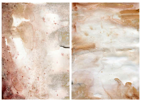 Watercolor abstract background with pink, gold, beige and yellow spots. Hand painted pastel illustration isolated on white background. For design, print, fabric or background.