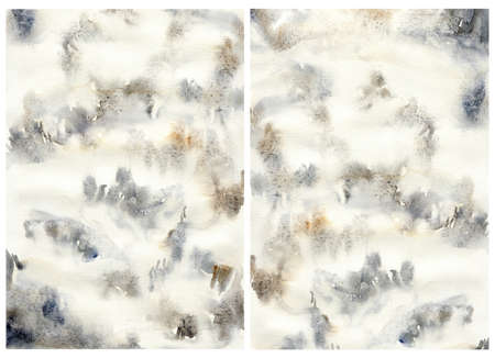 Watercolor abstract background with dark blue, gold and white spots. Hand painted pastel illustration isolated on white background. For design, print, fabric or background. 免版税图像
