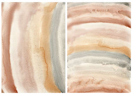 Watercolor abstract background with pink, gold, beige and yellow stripes. Rainbow style. Hand painted pastel illustration isolated on white background. Spots for design, print, fabric or background. 免版税图像
