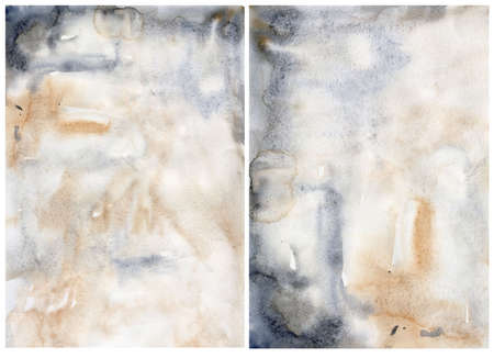 Watercolor abstract background with dark blue and beige spots. Hand painted pastel illustration isolated on white background. For design, print, fabric or background. 免版税图像