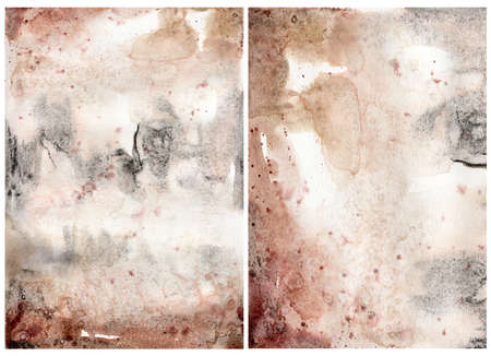 Watercolor abstract background with blue, pink, black and beige spots. Hand painted pastel illustration isolated on white background. For design, print, fabric or background. 免版税图像