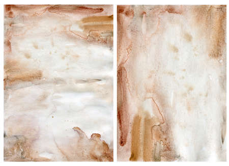 Watercolor abstract background with beige and gold spots. Hand painted pastel illustration isolated on white background. For design, print, fabric or background.