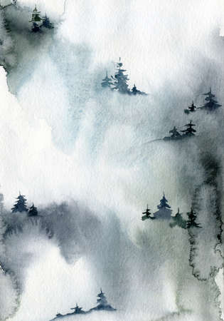Watercolor winter minimalistic card of forest and snow. Hand painted abstract fir trees illustrations. Holiday illustration for design, print, fabric or background.