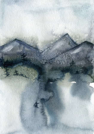 Watercolor winter minimalistic card of mountain, trees and snow. Hand painted abstract outdoor backdrop. Nature illustration for design, print, fabric or background. 免版税图像