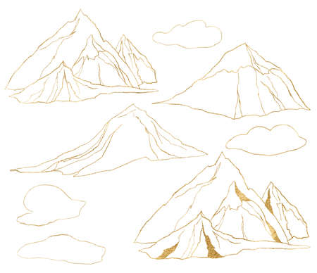 Watercolor gold linear set of mountains and clouds. Hand painted minimalistic illustrations isolated on white background. For design, print, fabric or background.