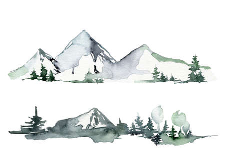 Watercolor winter minimalistic landscape of mountains, snow and trees. Hand painted abstract fir trees illustrations isolated on white background. For design, print, fabric or background.