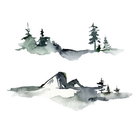 Watercolor winter minimalistic landscape of snow, trees and mountains. Hand painted abstract fir trees illustrations isolated on white background. For design, print, fabric or background.